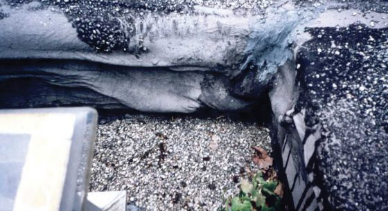 Existing flat roof slumping