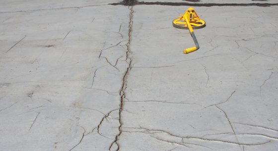 Large cracks in asphalt