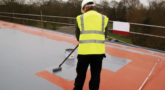Liquid roofing system application