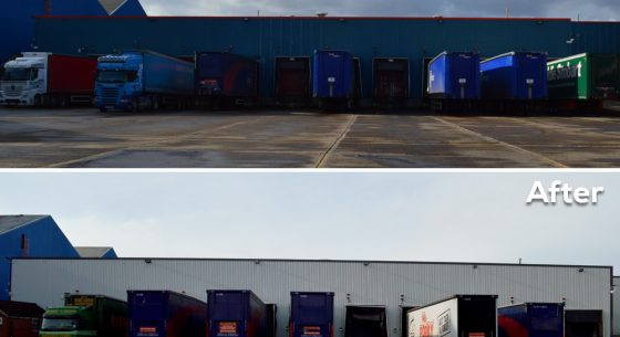 Before and after loading bays refurbishment