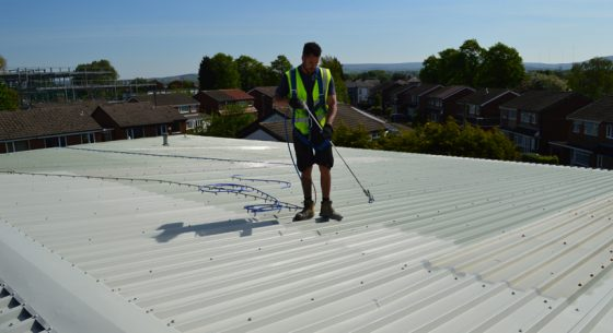 Hadfield House Onsite roof spraying