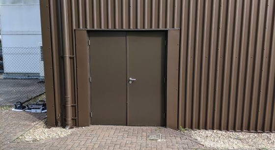 Military base door after coating