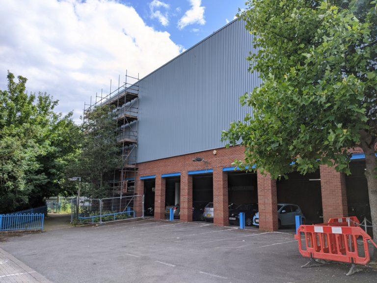 Asda Trowbridge External Wall Coating onsite